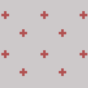 Swiss Cross Plus Sign Gray and Red