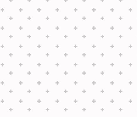 Baby Fabric Swiss Cross Plus Sign Gray And White Fabric