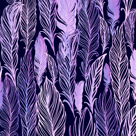 Violet watercolor feathers fabric by dariara on Spoonflower - custom fabric