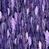 Violet watercolor feathers