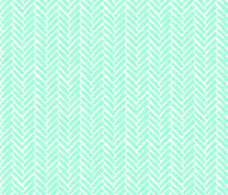 Modern Herringbone, Neon Mint Green fabric by pearl&phire on Spoonflower - custom fabric