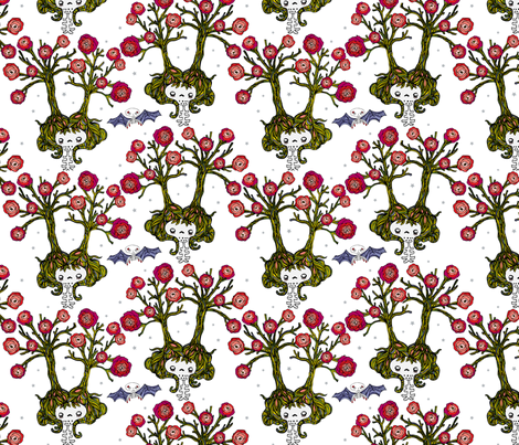 tree and roses 2 fabric by skellychic on Spoonflower - custom fabric