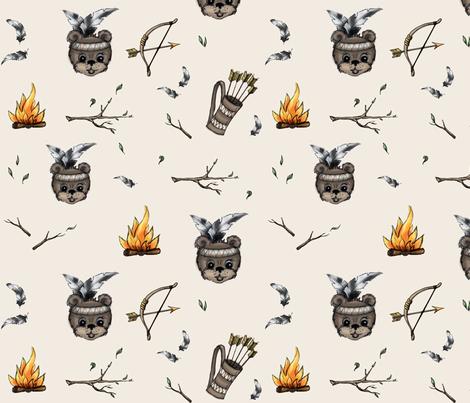 Bear Theme Light fabric by bows'n'arrows on Spoonflower - custom fabric