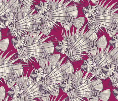 fish mirage berry fabric by scrummy on Spoonflower - custom fabric