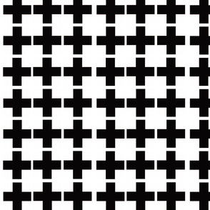 Black and White Swiss Cross Modern Check