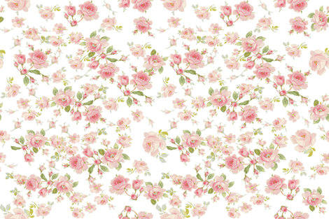Saint Colette June Roses peony on white resized fabric by lilyoake on Spoonflower - custom fabric