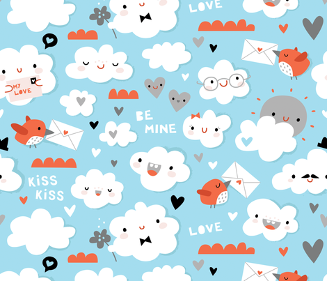 Love is in the air fabric by anetteheiberg on Spoonflower - custom fabric