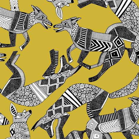 woodland fox party ochre yellow fabric by scrummy on Spoonflower - custom fabric