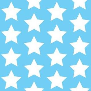 white stars on sky blue