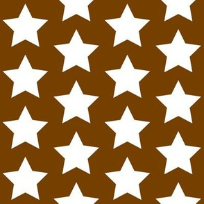 white stars on chocolate brown