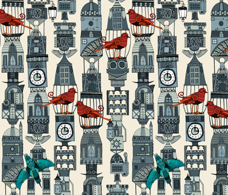 steampunk towers fabric by scrummy on Spoonflower - custom fabric