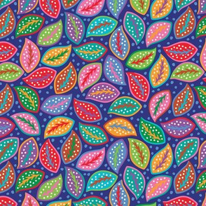 Leaves Blue&Dots