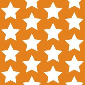 white stars on dirty orange