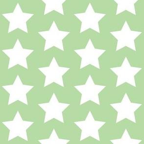 white stars on mint green