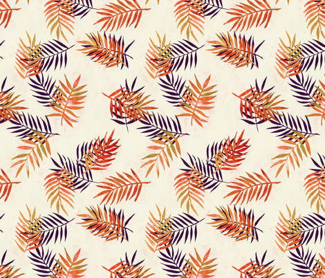 Palm Leaves and Silhouettes in Rust and Aubergine fabric by micklyn on Spoonflower - custom fabric