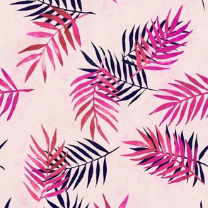Palm Leaves and Silhouettes in Magenta and Indigo