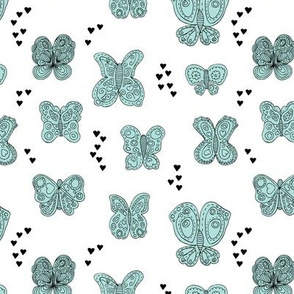Sweet butterfly love spring summer design hearts girls blue