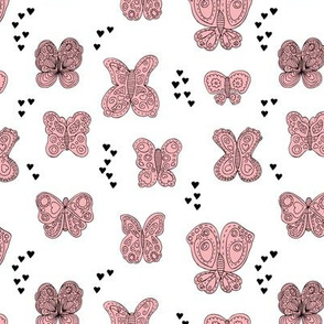 Sweet butterfly love spring summer design hearts girls pink