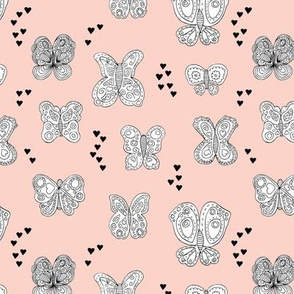 Sweet butterfly love spring summer design hearts girls soft pastel pink
