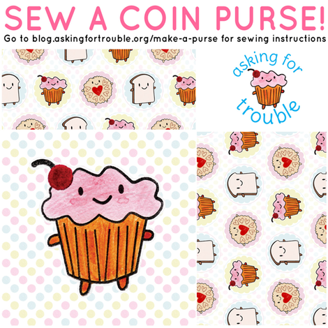 Cakeify the Cupcake Coin Purse - Cut & Sew Pattern fabric by marcelinesmith on Spoonflower - custom fabric
