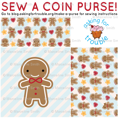 Cookie Cute Gingerbread Man Coin Purse - Cut & Sew Pattern