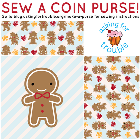 Cookie Cute Gingerbread Man Coin Purse - Cut & Sew Pattern fabric by marcelinesmith on Spoonflower - custom fabric