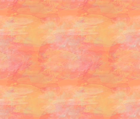 Coral Sunset Watercolor Paint Effect fabric by pearl&phire on Spoonflower - custom fabric