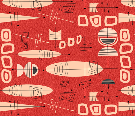 Mid-Century Atomic in Red fabric by hot4tees_bg@yahoo_com on Spoonflower - custom fabric