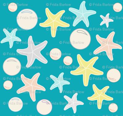 Starfish & Bubbles, Sea Blue