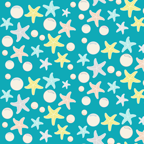 Starfish & Bubbles, Sea Blue fabric by pearl&phire on Spoonflower - custom fabric