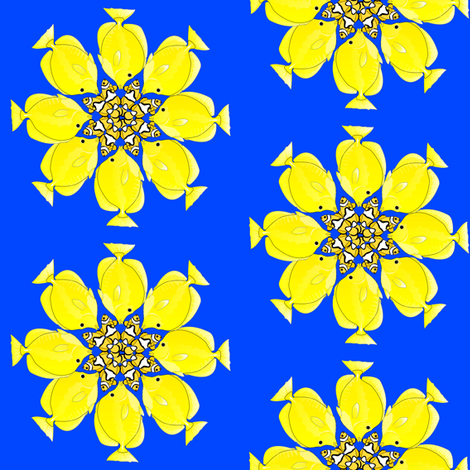 Yellow Tang and Clownfish Flowers fabric by combatfish on Spoonflower - custom fabric