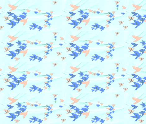 Origami Birds in a Paper Sky fabric by robin_rice on Spoonflower - custom fabric