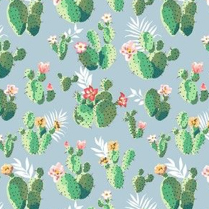 Trendy Prickly Pear Cactus in blue
