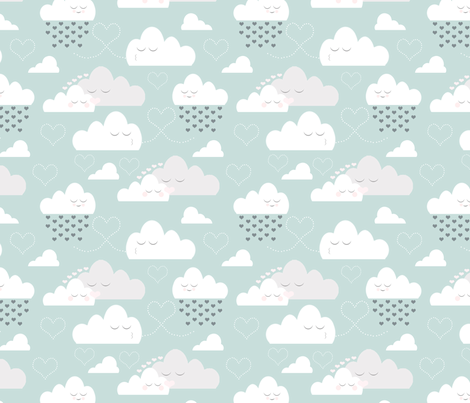 Love in the clouds fabric by sharlenetait on Spoonflower - custom fabric