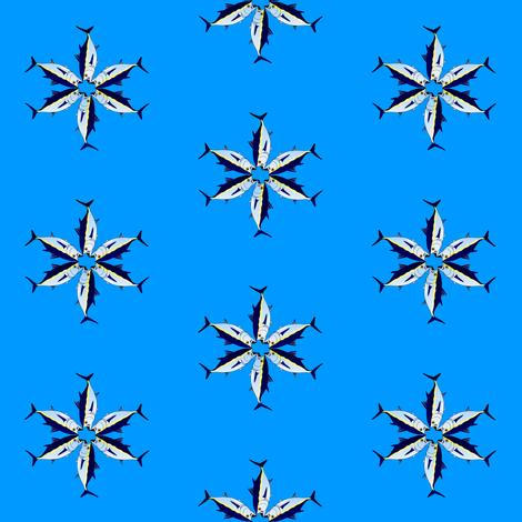 Bluefin tuna star on blue fabric by combatfish on Spoonflower - custom fabric