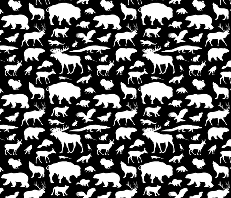 North American Animals on Black fabric by thinlinetextiles on Spoonflower - custom fabric