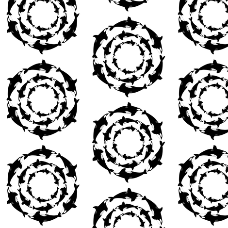 Orca 3x6 circle pattern fabric by combatfish on Spoonflower - custom fabric