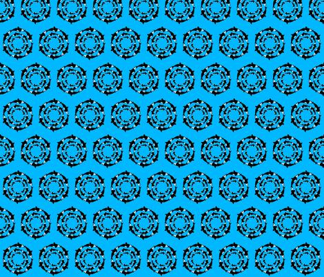 Orca 3x6 circle pattern on blue fabric by combatfish on Spoonflower - custom fabric
