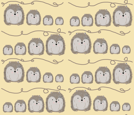 Hedgehogs Family fabric by therustichome on Spoonflower - custom fabric