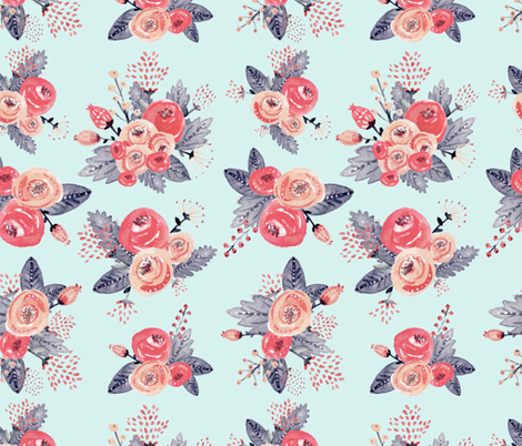 Vintage Rose Bouquet fabric by hikomari on Spoonflower - custom fabric