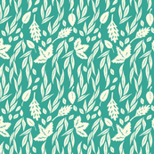 Leaves on Teal