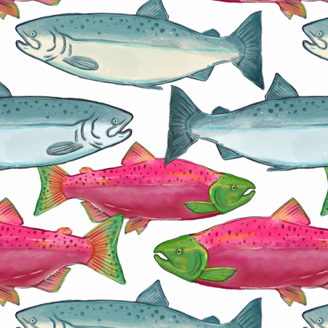 Pacific Northwest Salmon Swimming fabric by landpenguin on Spoonflower - custom fabric