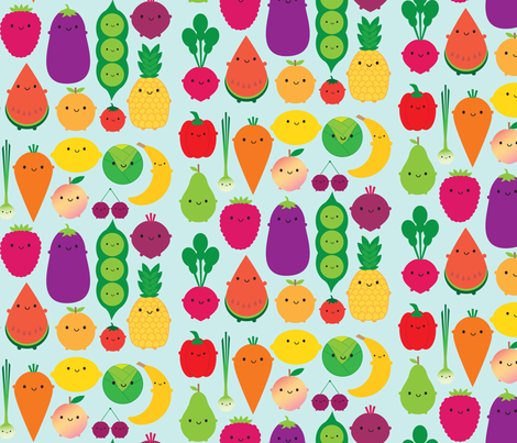 5 A Day Kawaii Fruit and Vegetables fabric by marcelinesmith on Spoonflower - custom fabric