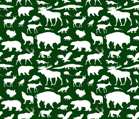 North American Animals - Dark Green fabric by thinlinetextiles on Spoonflower - custom fabric