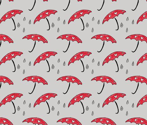 Love Umbrellas in the Rain fabric by boundingsquirrel on Spoonflower - custom fabric