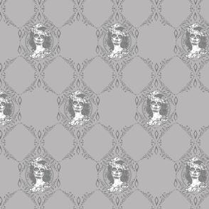 skull roses lady monogram light monochrome