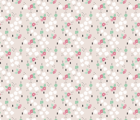 Sweet pastel summer and spring roses and flowers garden  fabric by littlesmilemakers on Spoonflower - custom fabric