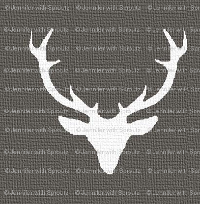 White textured deer on Gray