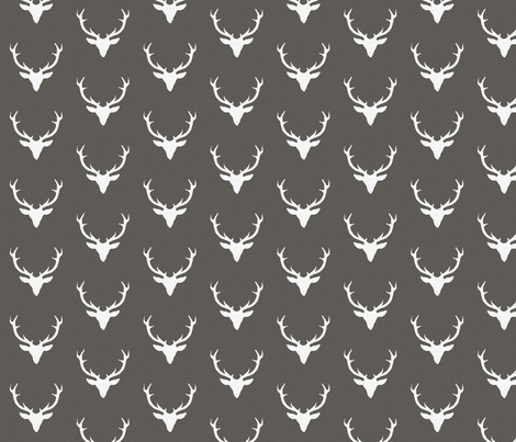 White textured deer on Gray fabric by sproutz on Spoonflower - custom fabric