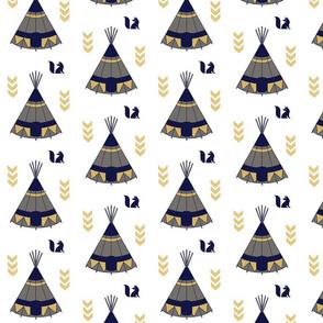 Navy and gold teepee Tee Pee